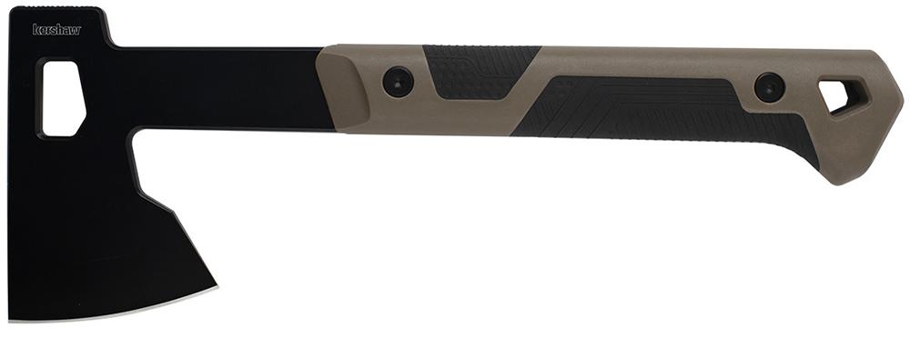Kershaw Deschutes Bearded Hatchet 1075x — это обновление классического, традиционного инструмента. Угловатые формы топорища и вырезы на голове топора придают ему современный, тактический вид. Это также снижает его вес. Коричневая нейлоновая ручка имеет текстурированные прорезиненные вставки для надежного хвата. Вырез в голове является частью системы ножен.