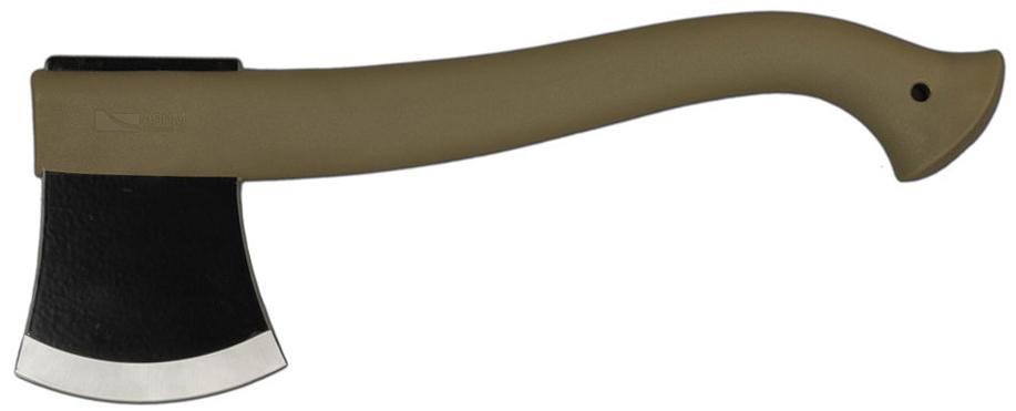 Outdoor Camo — бюджетный топор от шведской компании Mora. Это надежный инструмент, который выручит в любой ситуации. Лезвие изготовлено из высокоуглеродистой стали, прочной и неприхотливой, легировано бором и имеет черное эпоксидное покрытие. Рукоять выполнена из качественного полимера.