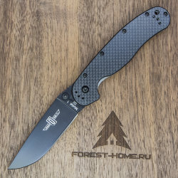 Нож Ontario RAT-1 ON8868CF D2 Black рукоять Black Carbon Fiber